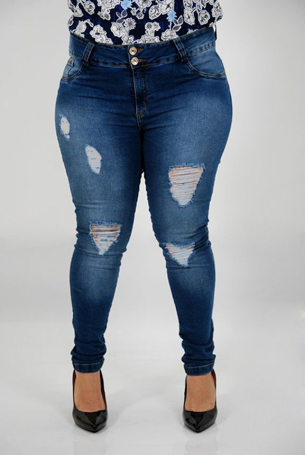 Calça Jeans Destroyed com Elastano