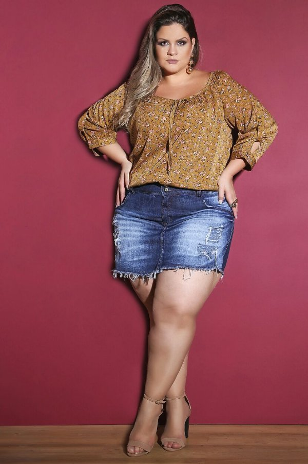 df354c884 Short saia Jeans destroyed - Camilly Plus Size