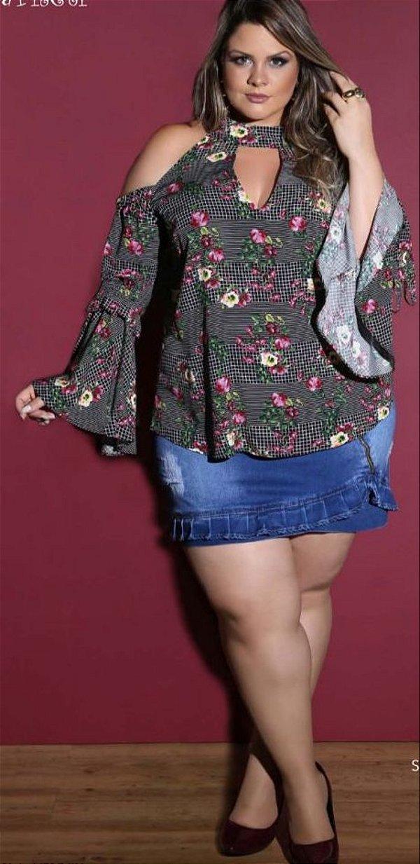 Saia jeans com lycra com Babadinho