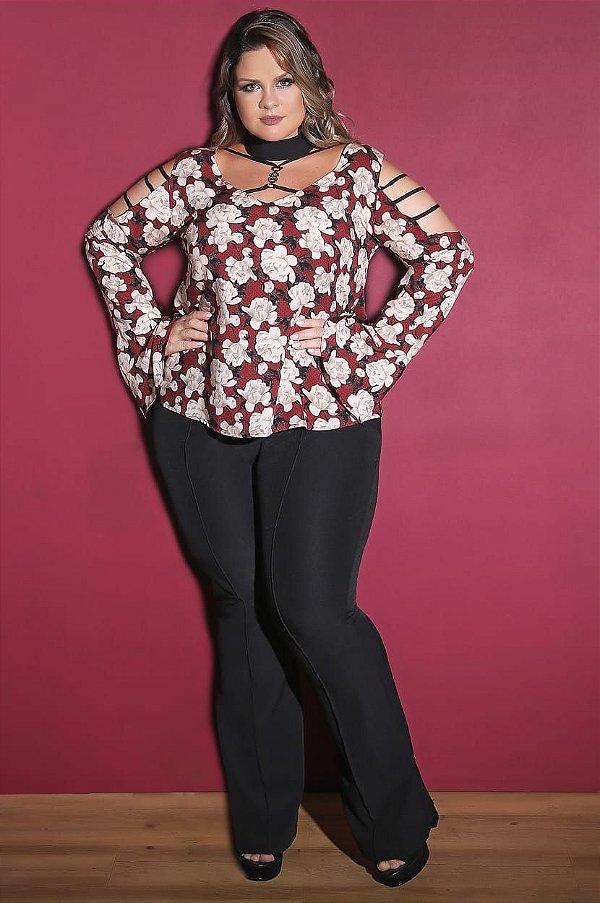 Blusa em viscose floral manga flare