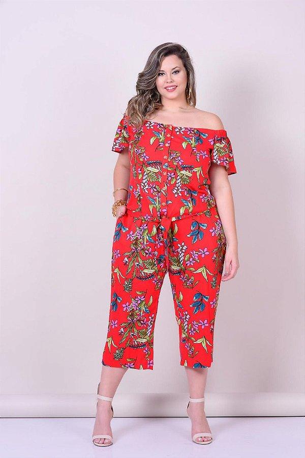 Conjunto em viscose de blusa e calça  pantacurt