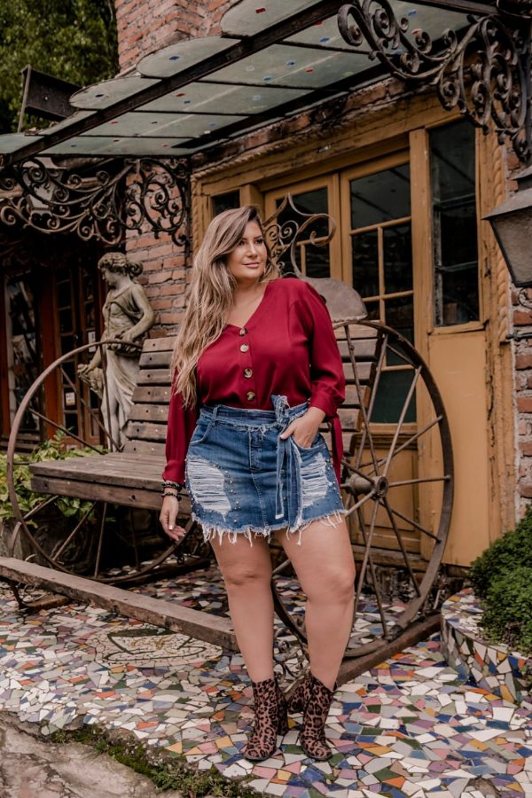 Short saia destroeyd plus size