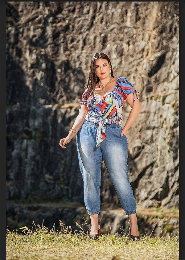 Calça jogger em jeans plus size