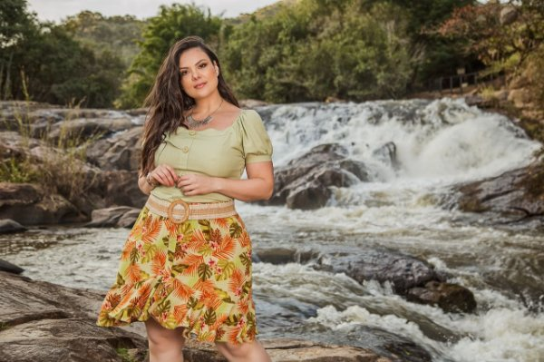 Saia estampada plus size