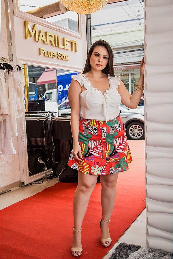 Short saia em estampa em folhagem