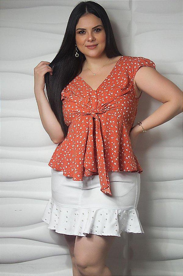 Blusa floral estampa em folhagem plus size