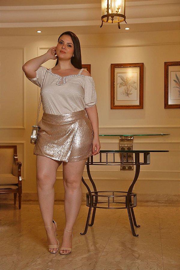 Short saia em payte plus size