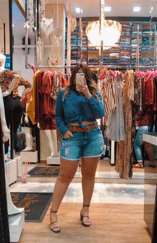 Camisa jeans plus size