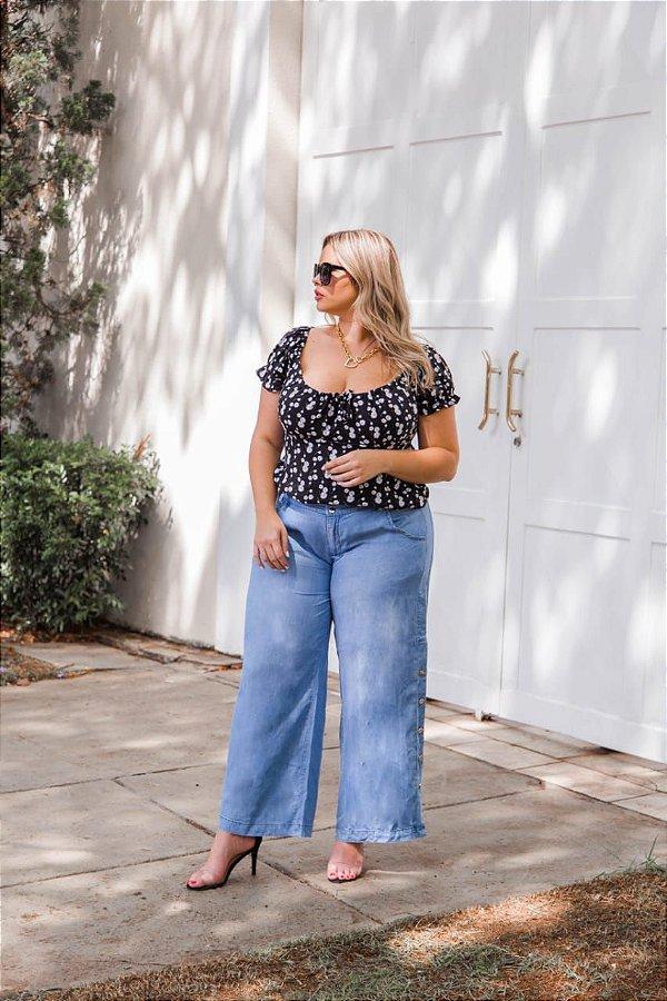 Calça pantalona jeans plus size