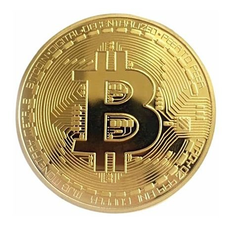 Moeda Decorativa Bitcoin - Dourada