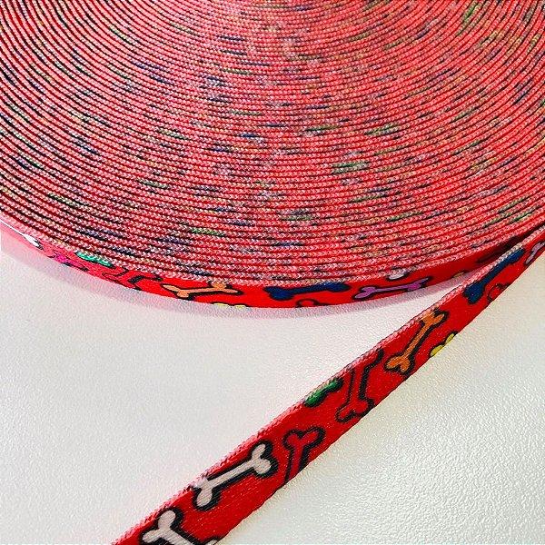 Alça de Poliéster 10mm Ossinhos Vermelho