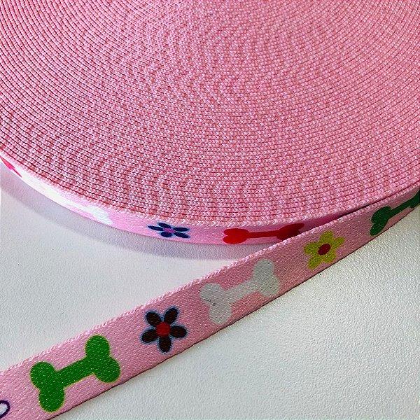 Alça de Poliéster 15mm Ossinho Rosa