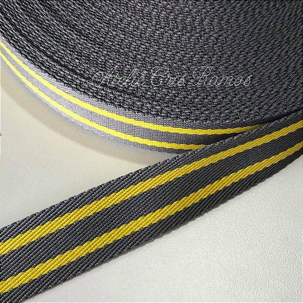Alça de Poliéster 3cm Listras Cinza com Amarelo