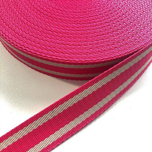 Alça de Poliéster 3cm Pink com Bege