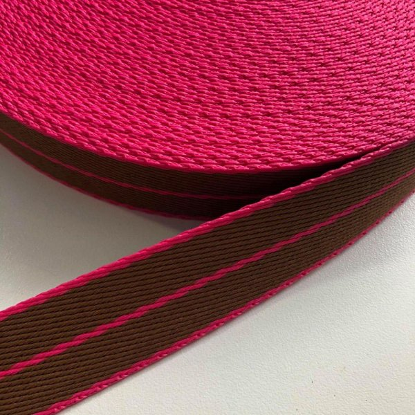 Alça de Poliéster 3cm Pink e Papelão