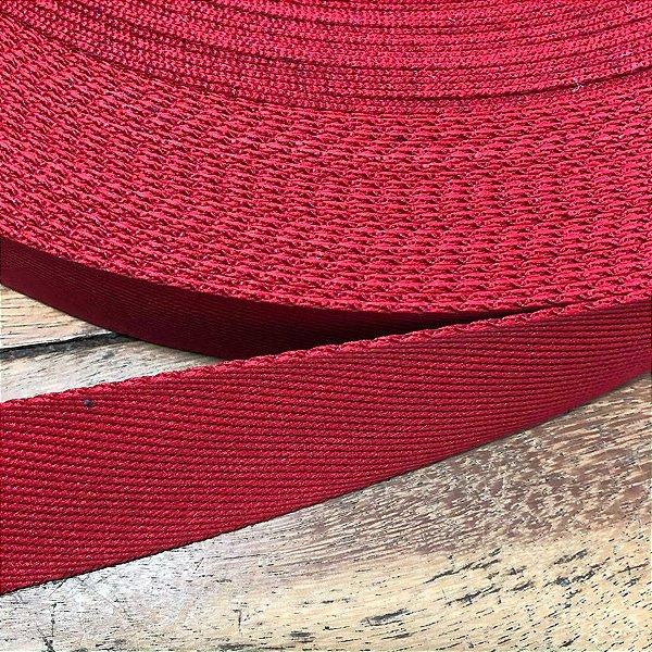 Alça de Poliéster 3cm Vermelha