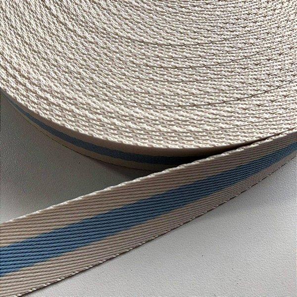 Alça de Poliéster 4cm Creme com Azul Bebê