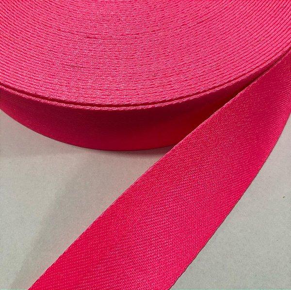 Alça de Poliéster 4cm Pink Neon