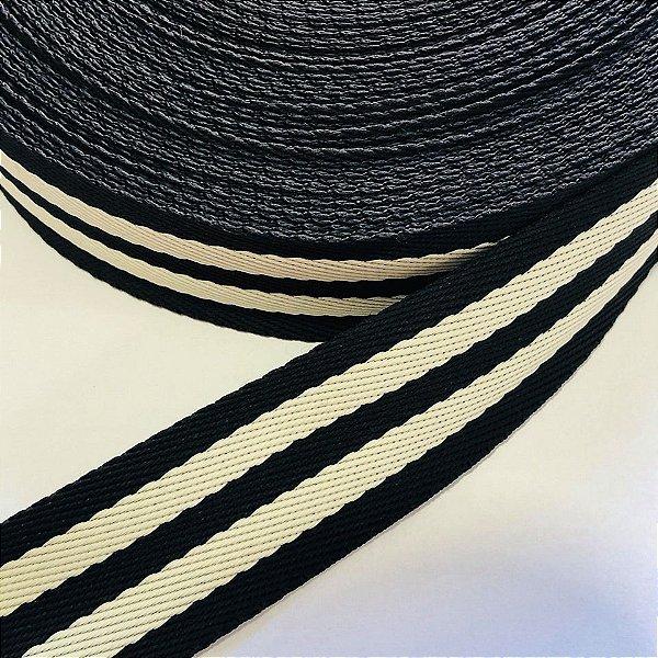 Alça de Poliéster 4cm Preta com faixa Branca