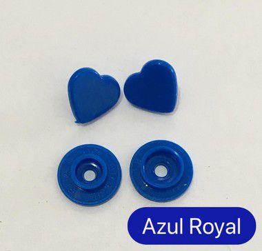 Botão de Pressão Coração Azul Royal (pct 10)