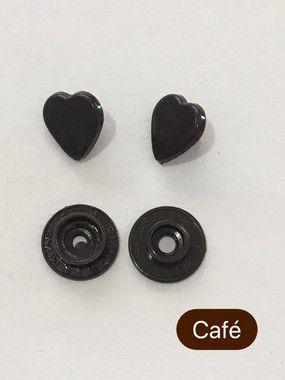 Botão de Pressão Coração Café (pct 10)