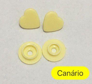Botão de Pressão Coração Canário (pct 10)