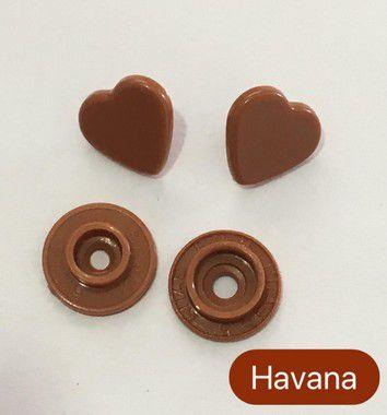 Botão de Pressão Coração Havana (pct 10)
