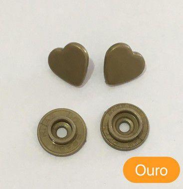 Botão de Pressão Coração Ouro (pct 10)
