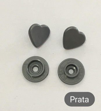 Botão de Pressão Coração Prata (pct 10)