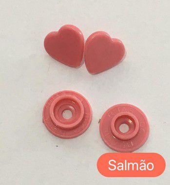 Botão de Pressão Coração Salmão (pct 10)