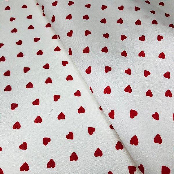 Cetim Dublado Branco com Coração