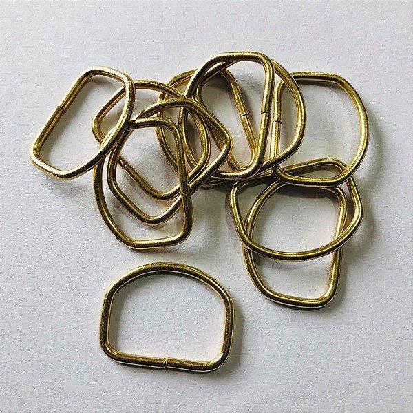 Meia argola 3cm Dourado Cataforético (pct 10)