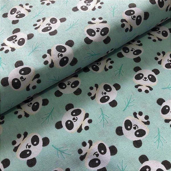 Tecido Panda Verde Água