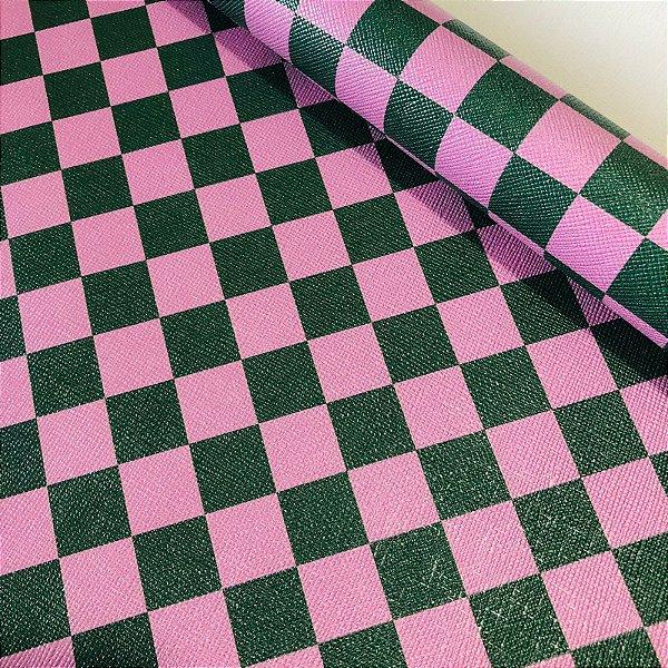 Rustic Xadrez 0,8 Rosa Bebê e Verde