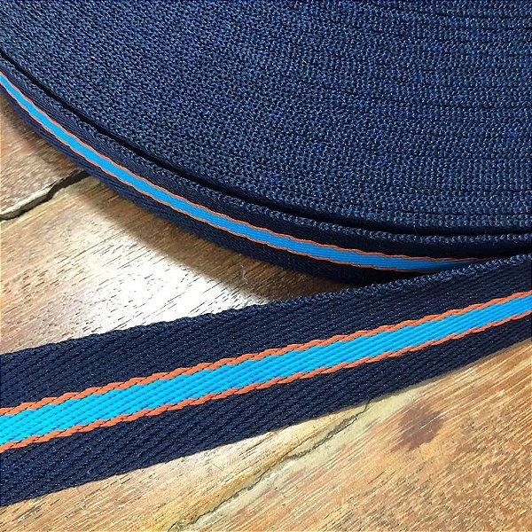 Alça de Poliéster 3cm Azul com Laranja