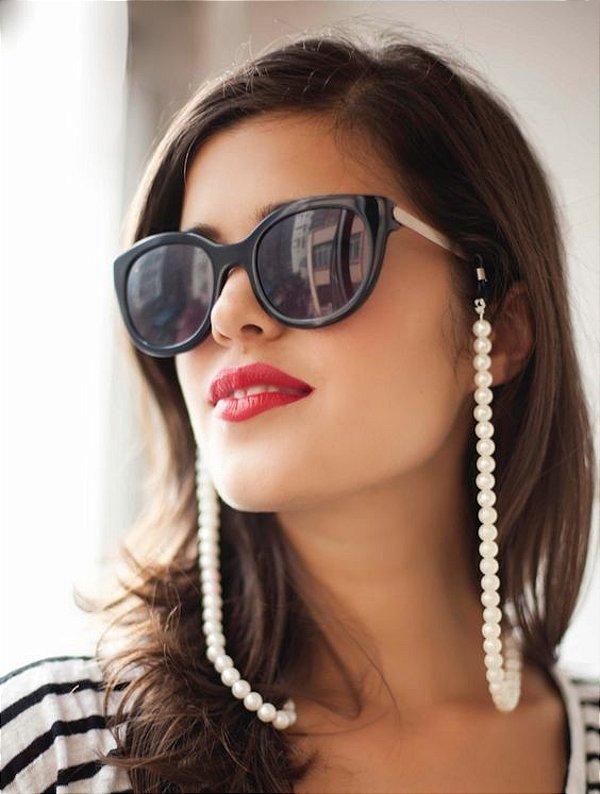 Corrente Óculos em Pérolas Acessório Feminino Tendência