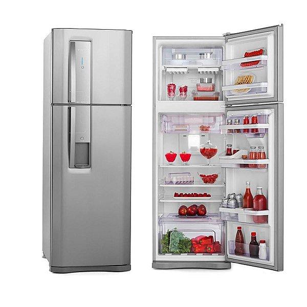 Refrigerador Electrolux Duplex DW42X Frost Free com Dispenser de Água e Controle de Temperatura Blue Touch 380 L - Inox