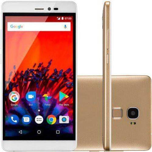 Smartphone MS60F Plus 4G Sensor de impressao digital 2GB RAM Android 7 Multilaser Dourado