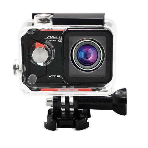 "Câmera e Filmadora XTrax Evo Preta/Vermelha 12MP, LCD 1.5"", Wi-Fi, Case À Prova D'Água, Vídeo Full HD"