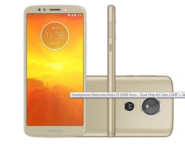"Smartphone Motorola Moto E5 16GB - Dual Chip 4G Câm 13MP + Selfie 5MP Flash Tela 5.7"""