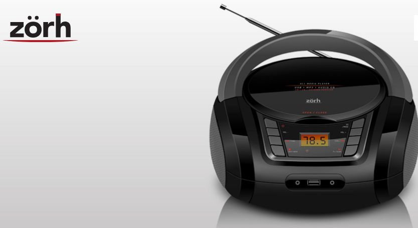 RÁDIO PORTÁTIL ZORH Z01AV CD PLAYER USB SD AUXILIAR MP3 AM E FM - BIVOLT