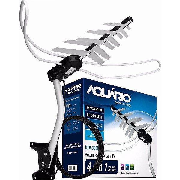 Antena Externa Tv 4 Em 1 Vhf/uhf/fm/hdtv Dtv-3000 - Aquario