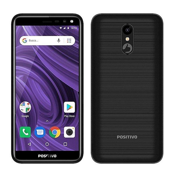 "Smartphone Positivo Twist 2 S512 16GB Preto 3G - 1GB RAM Tela 5,34"" Câm. 8MP + Câm. Selfie 5MP"
