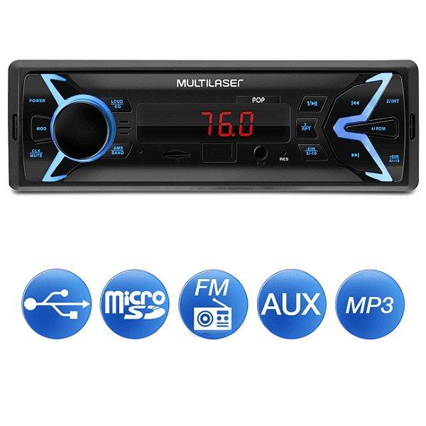 Som Automotivo Multilaser Pop 1 Din MP3 4x25W RMS Rádio FM + Entrada microSD + USB + AUX - P3335