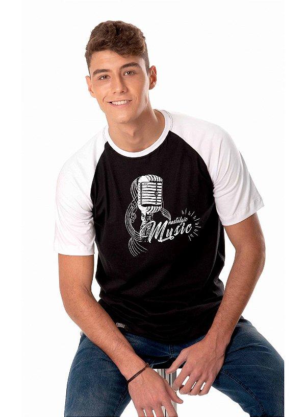 Camiseta Raglan Longline - Microfone