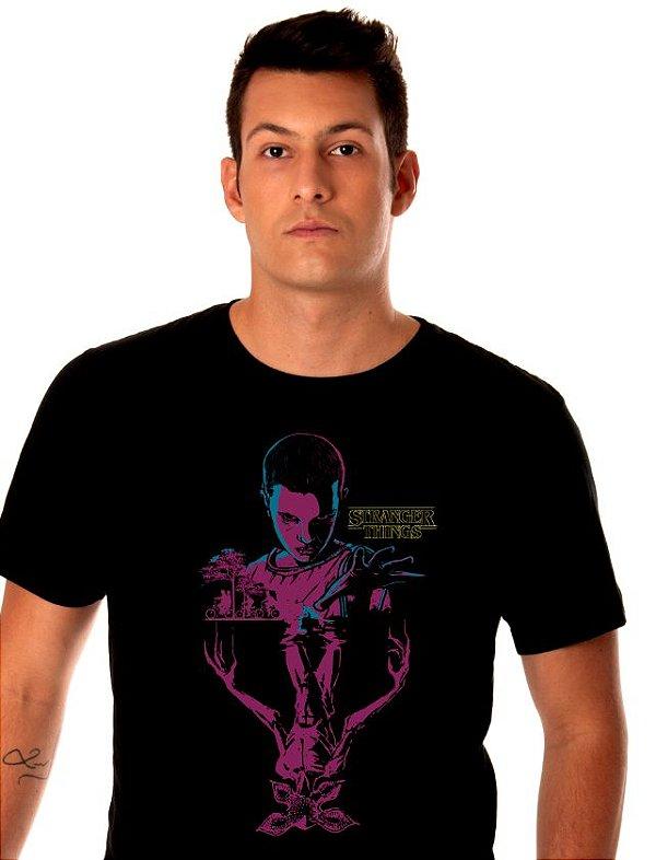 camiseta - lisa preta - masculina - Stranger Things