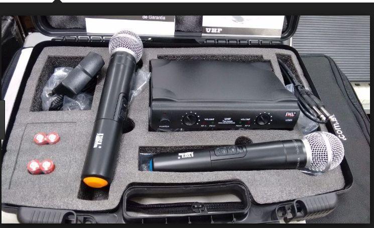 Microfone Sem Fio Duplo Mão Uhf JWL Profissional 585