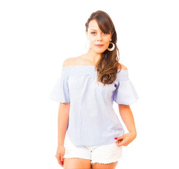 Blusa Lastex Listras Azul
