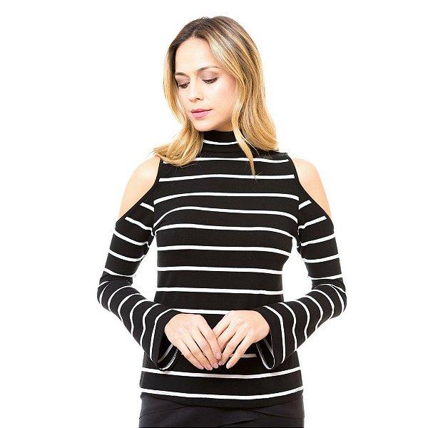 Blusa Ombro Vazado Listrada Preta
