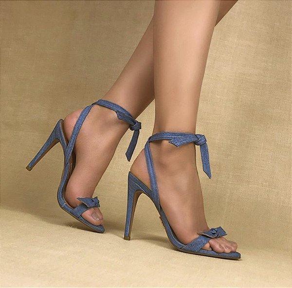 Sandália Salto Alto  Jeans